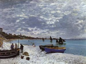 La plage a Sainte-Adresse by Claude Monet