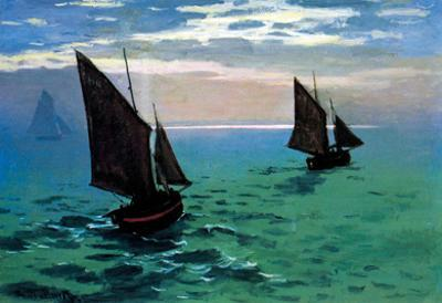 Claude Monet Le Havre Exit the Fishing Boats from the Port Art Print Poster