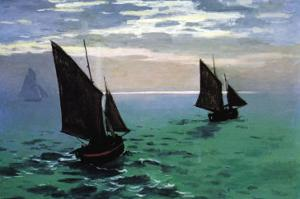 Le Havre - Exit The Fishing Boats From The Port by Claude Monet