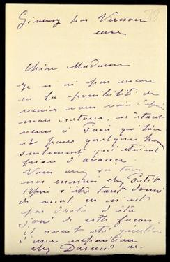 Letter from Claude Monet to Berthe Morisot, 1888 (Pen and Ink on Paper) by Claude Monet