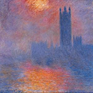 London Houses of Parliament. The Sun Shining Through the Fog by Claude Monet