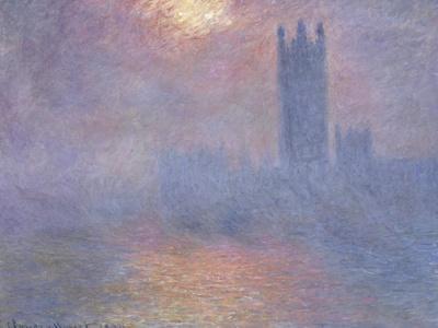 Londres, le Parlement, trouée de soleil dans le brouillard