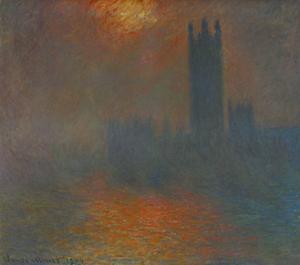 Londres, le Parlement, trouee de soleil London, Parliament, sun breaking through the clouds. by Claude Monet