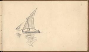 Mediterranean Sailing Boat, C.1884 (Pencil on Paper) by Claude Monet