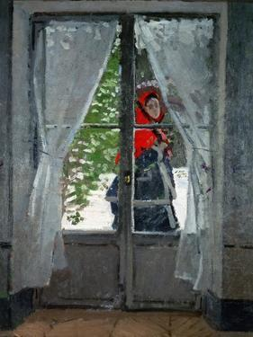 """Mme.Monet (Camille Doncieux, Monet's first wife) with a red hat called """" The Red Kerchief"""" by Claude Monet"""