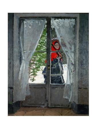 "Mme.Monet (Camille Doncieux, Monet's first wife) with a red hat called "" The Red Kerchief"" by Claude Monet"