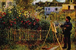 Monet Painting In His Garden In Argenteuil by Claude Monet