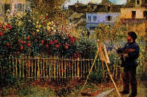 Monet Painting in His Garden in Argenteuil by Claude Monet