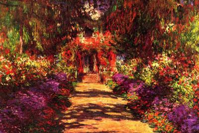Claude Monet Path in Monet's Garden in Giverny Plastic Sign