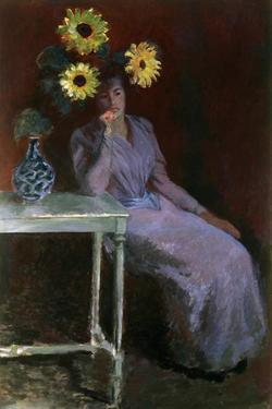 Portrait of Suzanne with Sunflowers by Claude Monet