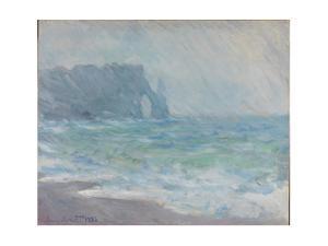 Rain in Étretat by Claude Monet