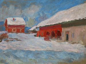 Red Houses at Bjoernegaard, Norway, 1895 by Claude Monet