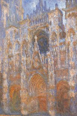 Rouen Cathedral, Full Sunlight Harmony in Blue by Claude Monet
