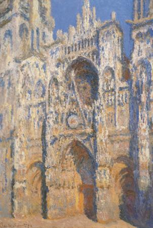 Rouen Cathedral, Morning Sun, Harmony in Blue by Claude Monet