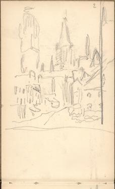 Rouen Cathedral Seen from Rue De L'Epicerie (Pencil on Paper) by Claude Monet