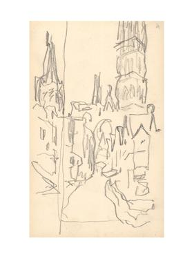 Rouen Cathedral, the Calende Portal and the Central Tower (Pencil on Paper) by Claude Monet