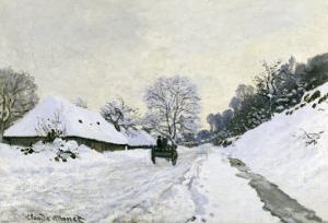 Route in the Snow near Honfleur, c.1867 by Claude Monet