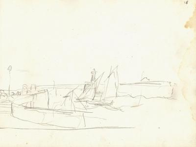 Sailing Boats Leaving a Port (Pencil on Paper) by Claude Monet