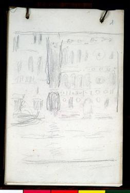 Sketch of Palazzo Dario (Pencil on Paper) by Claude Monet