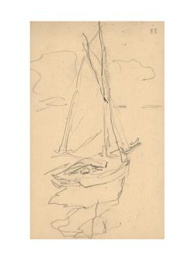 Small Yacht on the Norman Coast (Pencil on Paper) by Claude Monet