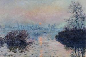 Soleil couchant sur la Seine à Lavacourt, effet d'hiver by Claude Monet