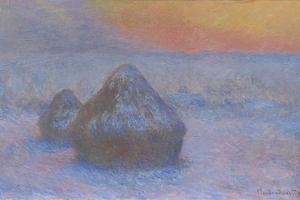 Stacks of Wheat (Sunset, Snow Effect), 1890-91 by Claude Monet