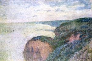 Steep Cliffs Near Dieppe, 1897 by Claude Monet