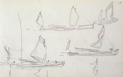 Study for London Series, Boats on the Thames (Pencil on Paper) by Claude Monet