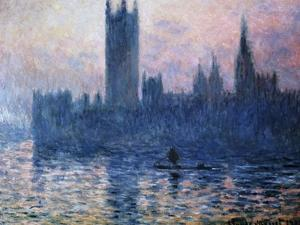 Sunset,The Houses of Parliament by Claude Monet