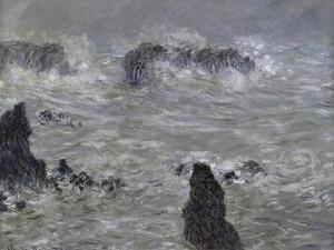 Tempete, Cotes de Belle, Ilestorm by Claude Monet