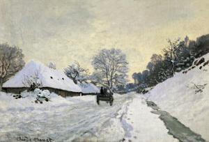 The Carriage, Snow on the Road to Honfleur, with the Farm of Saint Simon, circa 1867, 1867 by Claude Monet