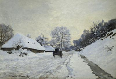 The Cart. Snow-Covered Road at Honfleur, Ca. 1867 by Claude Monet