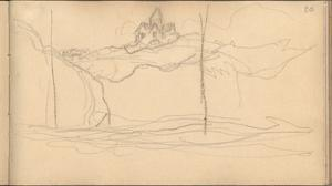The Church of Varengeville Seen from the Sea (Pencil on Paper) by Claude Monet