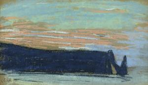 The Cliff at Etretat, C.1885 (Pastel) by Claude Monet