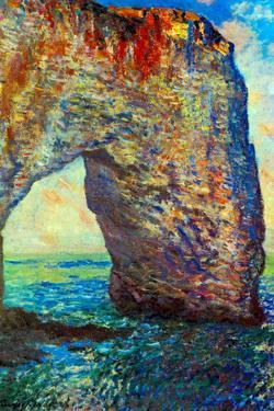 Claude Monet The Rocky Cliffs of Etretat La Porte Man 2