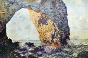The Rocky Cliffs of ?retat (La Porte Man) by Claude Monet