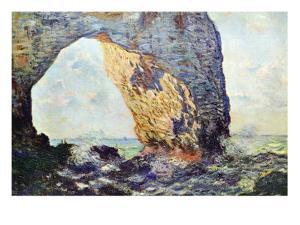 The Rocky Cliffs of ?retat (La Porte Man) by Claude Monet