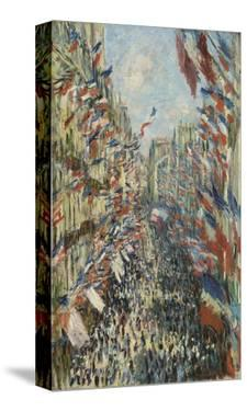 The Rue Montorgueil in Paris Celebration of June 30, 1878 by Claude Monet