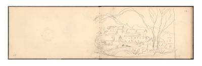 Village of Sandviken and Bridge of Lokke, 1895 (Pencil on Paper) by Claude Monet