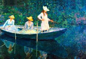 Claude Monet Women Fishing Art Print Poster