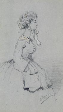 Young Woman with a Ribbon, 1857 (Charcoal and Pastel on Paper) by Claude Monet