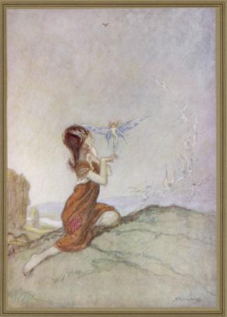 While a Girl is Playing with Fairies One of Them Perches on Her Finger