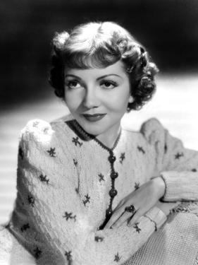 Claudette Colbert, Portrait, 1939, in Embroidered Cardigan