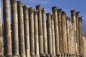 Columns of Cardo Maximus St. Jerash, Jordan by Claudia Adams