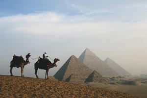 Egypt, Giza, Camel Ride and Giza Pyramid by Claudia Adams
