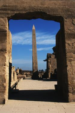 Egypt, Luxor, Great Hypostyle Hall of Karnak and Obelisk of Tutmose by Claudia Adams