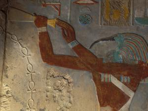 God Thoth Purifying Hetsheput at the Karnak Temple, Egypt by Claudia Adams