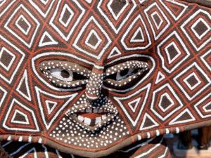 Painted Geometric Mask, Zimbabwe by Claudia Adams