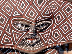 Painted Geometric Mask, Zimbabwe by Claudia Adams