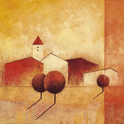 Houses and Trees in Orange and Red I